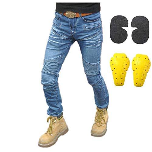 Motorradhose Motorradjeans Herren Frau Jeans mit Schutzfunktion, Taschen für Knieprotektoren, Baumwolljeans Blau (M- (Waist 33'))