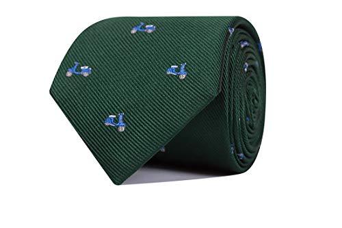 SoloGemelos - Corbata De Seda Verde Con Vespas - Verde, Celeste - Hombres - Talla Unica