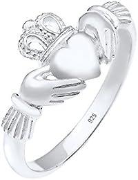 Elli Damen-Ring Herz, Claddagh Herzschliff 925 Silber
