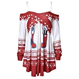 VEMOW Damen Weihnachts Sweatshirts Winter Off Shoulder Streetwear Schulterfrei Weihnachtspulli Party...