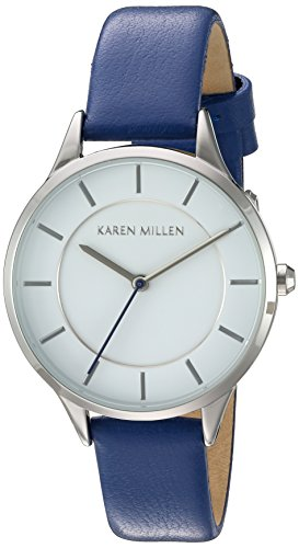Karen Millen Women's Quartz Watch with White Dial Analogue Display and Blue Leather Strap KM133UA