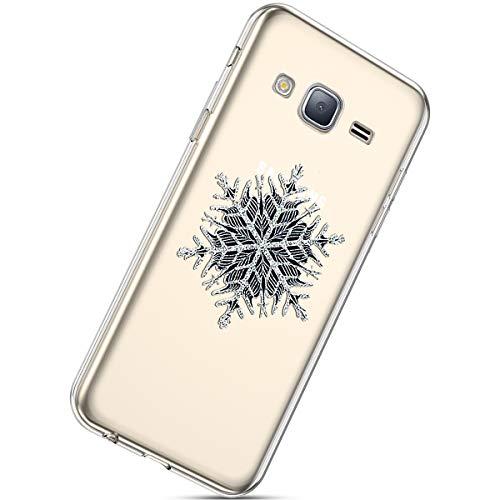Handytasche Samsung Galaxy J3 2016 Silikonhülle Cover Durchsichtige Handyhülle Silikon Kristall Klar Schutzhülle Crystal Clear Handycover Silikon Dünn Transparent Hüllen,Weihnachten Schneeflocke