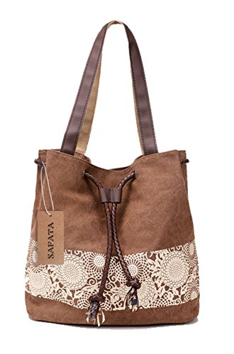 SAFATA Damen Handtasche Canvas Schultertasche Umhängetasche Damen Shopper Tasche Schöne Vintage Henkeltasche Beuteltasche (Braun)