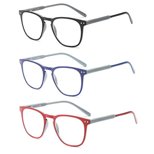 Suertree Lesebrille 3 Pack Computer Brille Herren Damen Lesehilfe für Frauen Männer Fashion Leser 2.5X JH221