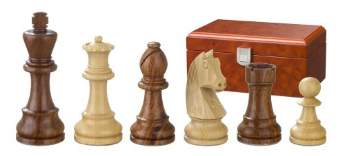 Philos 2184 - Pezzi degli scacchi, serie Artù, doppio piombo, altezza del re: 70 mm, con scatola a scomparti