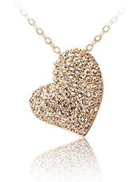 FASHION PLAZA Herz Form Klar Kristall Anhaenger mit Halskette N257
