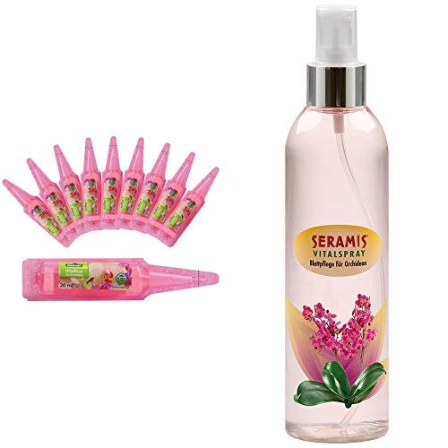 Dehner Orchideen Vitalkur, 10 Stück, je 20 ml & Seramis Blattpflege für Orchideen, Vitalspray, Transparent, 250 ml