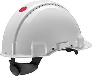 Casque de sécurité 3M G3000 blanc, ventilé, avec harnais à crémaillère et basane synthétique