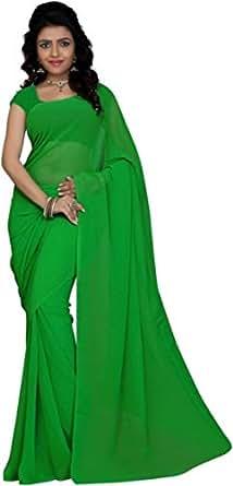 Nabhya Women's Chiffon Saree Plain (Free_Size_Bollywood_With Blouse)