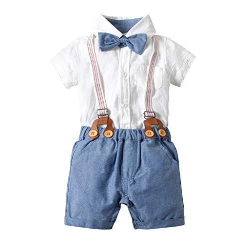 Kobay Baby Kleidung Set Junge Infant Baby Boy Gentleman Anzug Fliege Hemd Hosenträger Shorts Outfit Set(3-6M,Blau) -