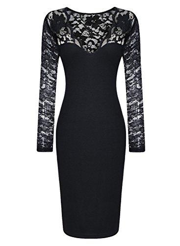 Miusol Damen elegant Abendkleid Spitzen V-Ausschnitt Cocktail Ballkleid Langarm Kleid schwarz/Weiß Gr.34-46 (EU 36 (S), Schwarz) -