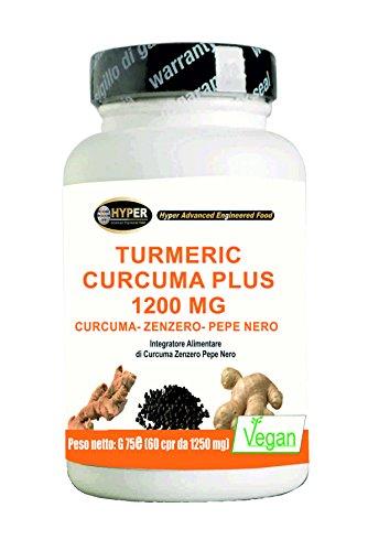 Kurkuma Curcuma 1000mg 60 cpr | 60 Tabletten | Curcumin + Piperine + Ingwer - Fetter Brenner Hochdosis Curcuma Kapseln 95% titriert 95% schwarzer Pfeffer Kurkuma Hyper
