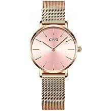 c5d673fd35f3 CIVO Relojes Mujer Ultra Fino Silm Minimalista Reloj de Señoras Impermeable  Moda Vestir Elegante Relojes de
