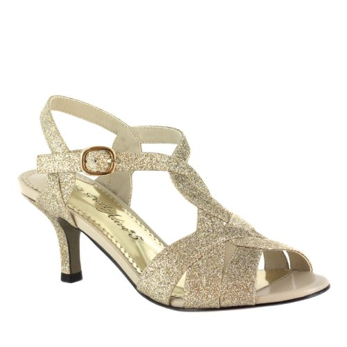 Easy Street Glamorous Breit Synthetik Sandale Gold Glitr