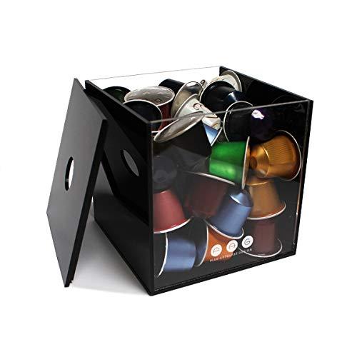 Porta capsule cubo con coperchio nero in plexiglass made in italy 12 cm