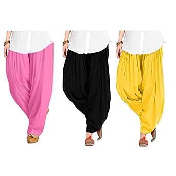 Spangel Fashion Women's Soft Cotton Full Stitched Ready made Patiala Bottom Salwar Patiyala Combo Pack Of 3 (Pink, Black, Yellow_Free Size)