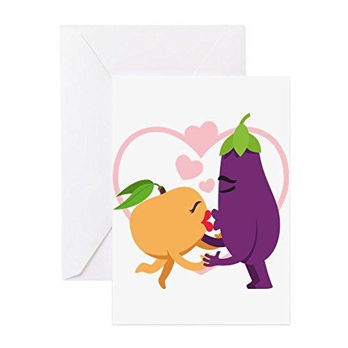 emojis ki en CafePress–Emoji-aubergine und Pfirsich Romantische Ki–Grußkarte, Note Karte, Geburtstagskarte, innen blanko, matt