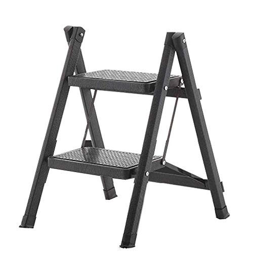 S&RL Leiter-Hocker-Speicher 2-Schritt-Fußleiter, Aluminiumlegierungstreppe Mehrzweck-Faltleiter 58Cm, Schwarz (Sitz Speicher-cube)