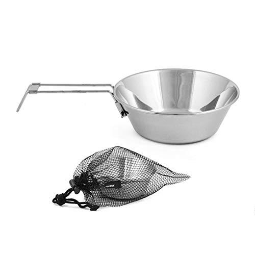 Swiftswan Bol en acier inoxydable avec poignée pliable Camping en plein air Pique-nique Vaisselle Batterie de cuisine portable Bol pliant peu encombrant