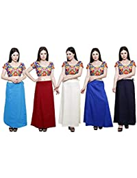efashions Women's Cotton Petticoat - Turquoise Blue, Deep Maroon, Cream, Ink Blue, Navy Blue (Size: Free, Pack of 5)