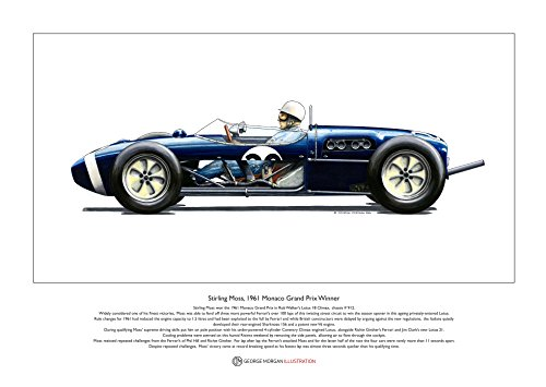 George Morgan Illustration Stirling Moss Lotus 18 Monaco 1961 Limitierte Fine Art Print A3-Format -