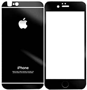 Exoic81 Electroplated Mirror Front + Back Tempered Glass Screen Protector for Apple iPhone 4/4S/4G - Black
