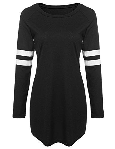 ZEARO Damen Pullover T-Shirt Sweatshirt Beiläufige Langarm Baseball Langes Shirts Bluse Schwarz