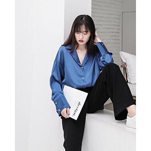 Xxin diapositiva camicie di seta perla femmina colore solido sciolto t-shirt sunscreen sulla maglietta l blu