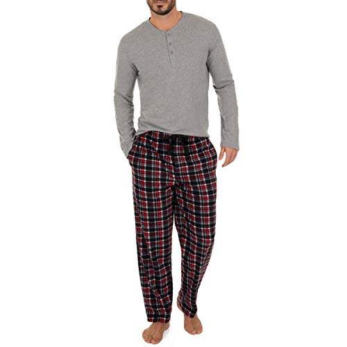 Long Sleeve Knit Pants (Izod Herren Microfleece Pant and Jersey Knit Long Sleeve Henley Top Set Pyjamahose, Grey Heather, X-Large)