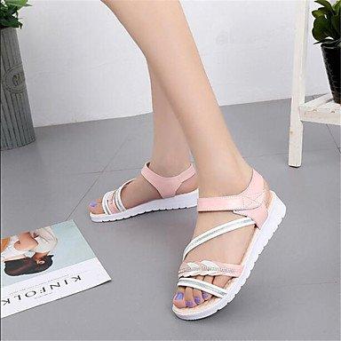 zhENfu Donna Sneakers Comfort PU molla Canvas informale comfort Piatto bianco Blushing Pink