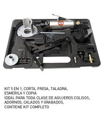 MC-2587 Kit Mini Moladora-Fresadora Neumática para trabajos copiador con Pantógrafo, admite fresas de todo tipo con mango de 6 m/m. para trabajos vertical