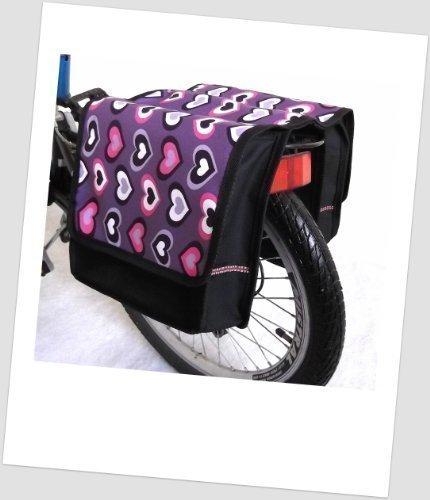 Kinder-Fahrradtasche Joy Satteltasche Gepäckträgertasche Fahrradtasche 2 x 5 Liter: Farbe: 40 Heart Lila