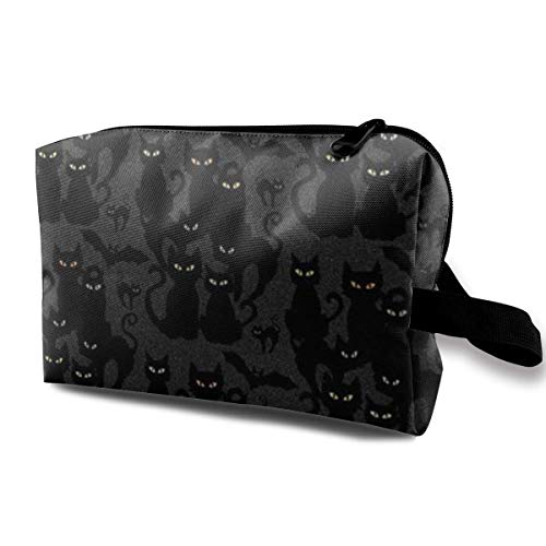 Halloween Cats Eyes On You Makeup Organizer Bag Pouch Purse Cosmetic Tote Bag Carry Case