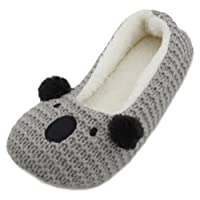 SlumberzzZ Ladies Knitted Animal Character Ballet Slippers
