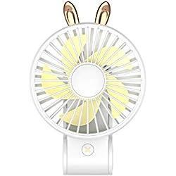HuaCat Mini-Ventilateur portatif Rechargeable par USB 2 Vitesses de Vent réglables, Ventilateur de Bureau avec Cordon de Lampe à Del, Poids léger pour Une Poche à l extérieur