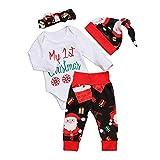 FIRSS Baby Weihnachten Jungen Schneeflocke My 1st Christmas Tops +Weihnachtsmann Drucken Hosen+Santa Hut-Outfits Mädchen Weihnachtskostüm