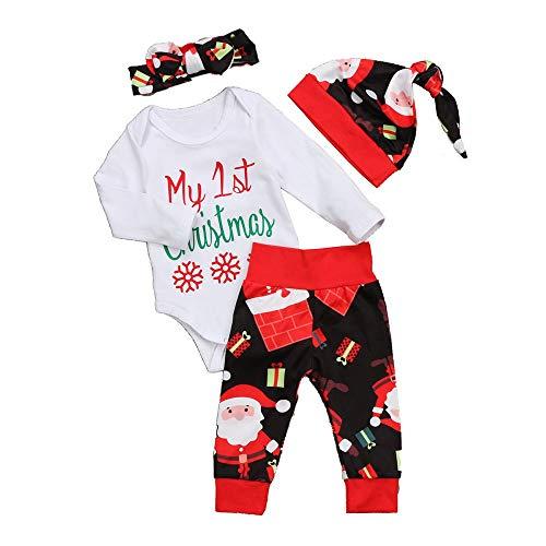 FIRSS Baby Weihnachten Jungen Schneeflocke My 1st Christmas Tops +Weihnachtsmann Drucken Hosen+Santa Hut-Outfits Mädchen ()