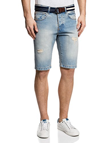 oodji Ultra Uomo Shorts in Jeans Strappati Blu (7000W)