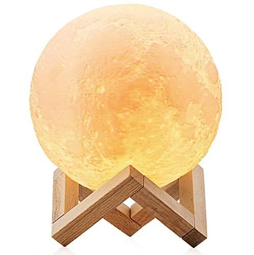 ChillHil Lampara de Luna LED 3D Moon Lamp - Recargable por USB 15cm, 3 Colores, Lamparas Infantiles (niña/niño/Bebe) de Mesa quitamiedos Nocturna, Salon, Escritorio de habitacion, baño o Cocina