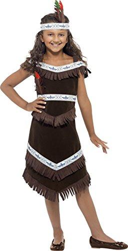 hen Indianerin Kostüm, Fransenkleid und befiedertes Stirnband, Größe: L, 41096 (80's Kostüm Ideen Für Mädchen)