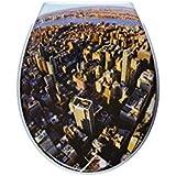 ADOB Duroplast lunette de WC avec système d'abaissement automatique motif Downtown 59836 amovible pour