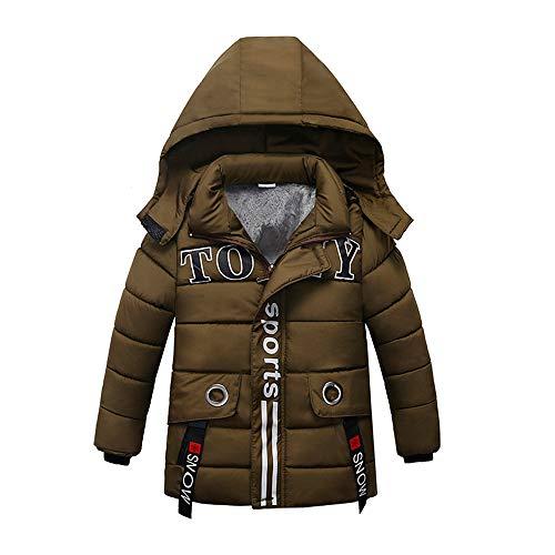 ✡vovotrade✡cappotto con cappuccio stampa lettera dei bambini, vestiti di moda per bambini cappotto spesso spessi vestiti giacca invernale