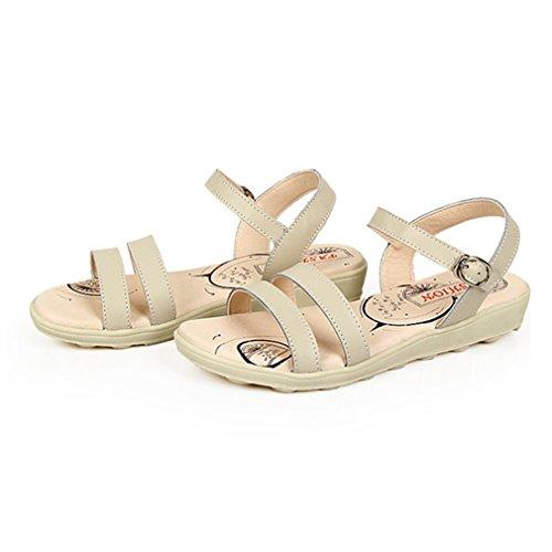 Damen Sandalen Schnalle Sommer Einfache Flache Gummi Sohle Anti-Rutsche Bequeme Urlaub Freizeit Schuhe Beige