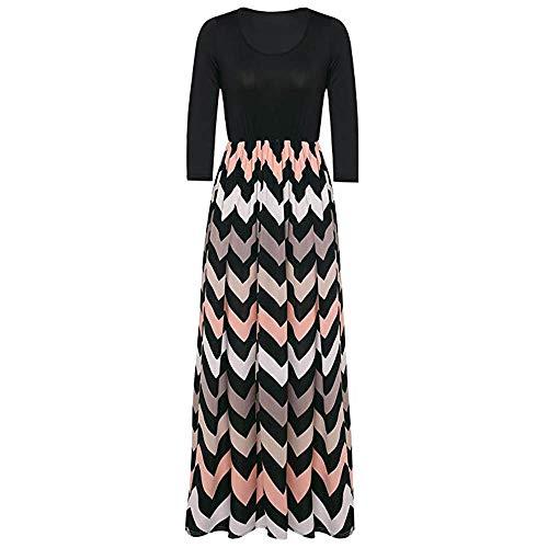MRULIC Womens Striped Long Boho Kleid Dame Strand Sommer Sommerkleid Maxi Kleid Striped Gerade Art Kleid(C-Schwarz,EU-46/CN-3XL)