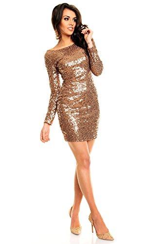 Paillettenkleid rückenfrei Cocktailkleid Abendkleid mit Pailletten bestickt gold braun XL - 2