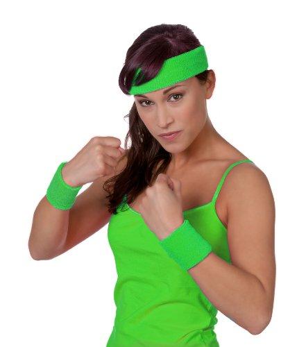3 tlg. Set Schweißband, Arm und Kopf, Neon-Grün