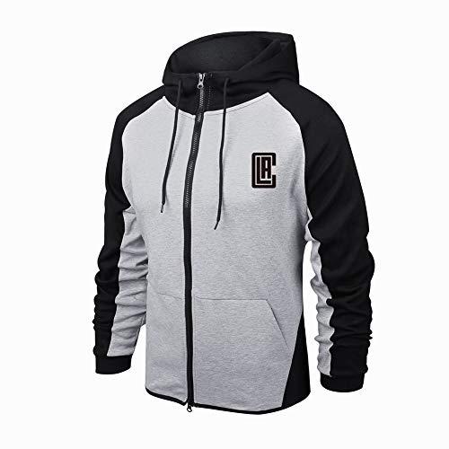 HS-MANWEI Herbst-Basketball-Trikot L.A. Clippers Hoodie Basketball Sportswear 60% Baumwolle Atmungsaktiv Schnelltrocknend Langärmliges Sweatshirt (Grau),XXL