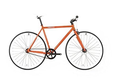 FabricBike- Vélo fixie orange, fixed gear, Single Speed, cadre Hi-Ten acier, 10Kg (Orange & White, S-49)