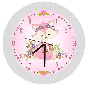 ✿ Kinderwanduhr in 4 Farben ✿ Fuchs Fox rosa ✿ Wanduhr ✿ KEIN TICKEN ✿ mit/ohne Name