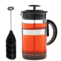 GROSCHE Cafe Au Lait Coffee and Tea Lover's Gift Set. 34 oz French Press and Milk Frother Wand Black